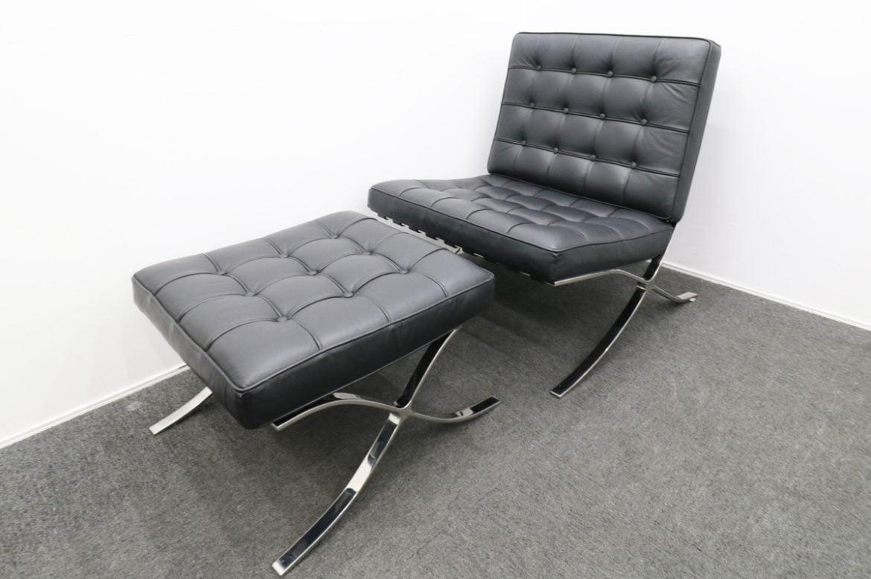 IDC大塚家具 バルセロナチェア+オットマン ブラック 本革張り